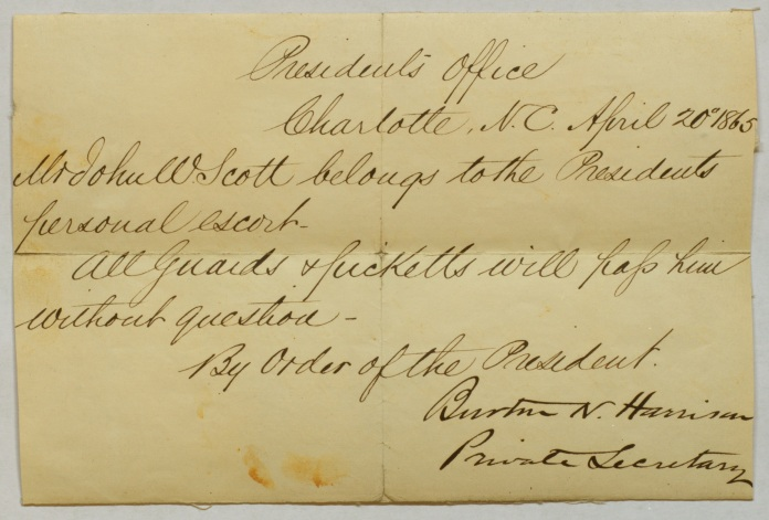 Picket Pass of John White Scott, issued by Jefferson Davis's Private Secretary, Burton Norvell Harrison.