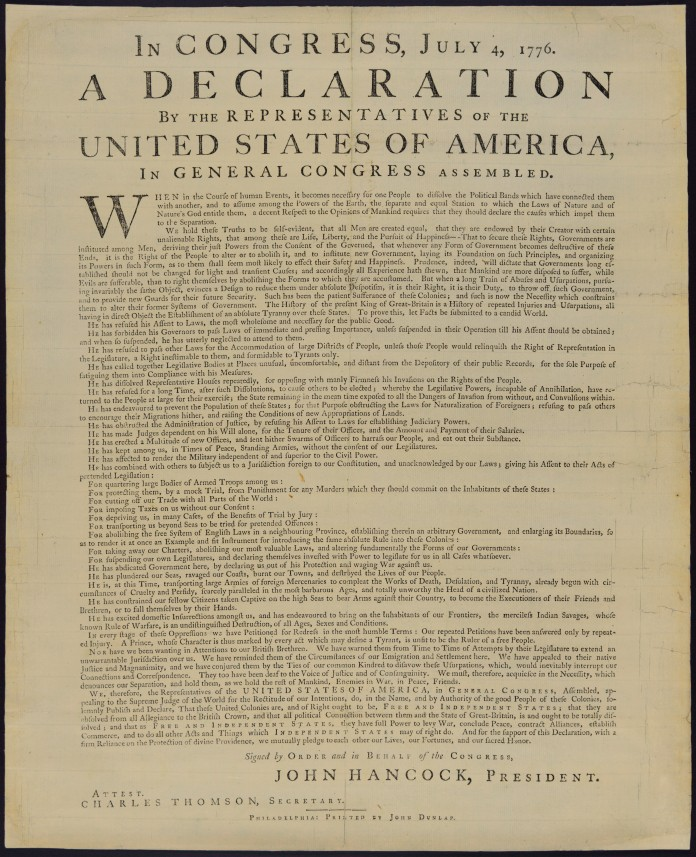 1776 Dunlap Broadside